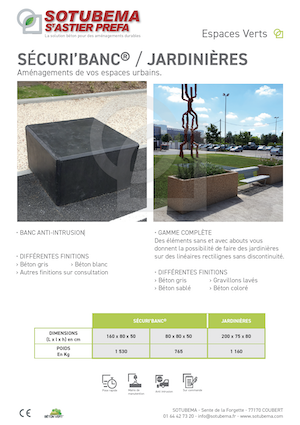 BANC ANTI-INTRUSION Béton SOTUBEMA - JARDINIÈRES - Aménagements d'espaces urbains SOTUBEMA