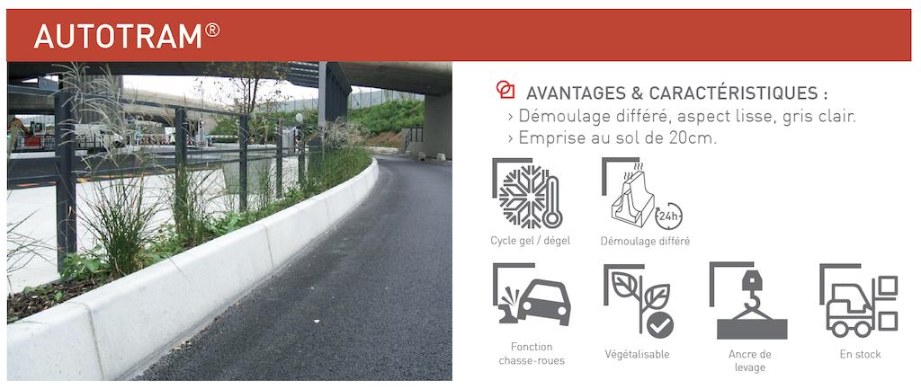 Chasse-roues AUTOTRAM® éléments de protection et de sécurité pour les voies urbaines, terre-pleins centraux et ronds-points SOTUBEMA