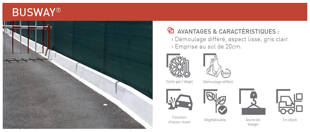 Chasse-roues BUSWAY® éléments de protection et de sécurité pour les voies urbaines, terre-pleins centraux et ronds-points SOTUBEMA