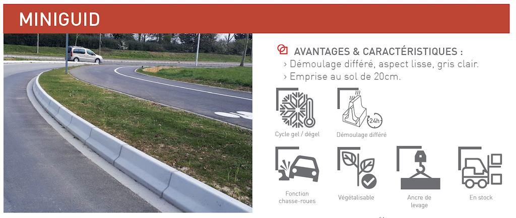 Chasse-roues MINIGUID éléments de protection et de sécurité pour les voies urbaines, terre-pleins centraux et ronds-points SOTUBEMA