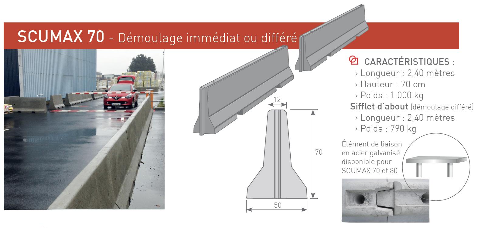 Séparateurs de circulation et de protection béton SCUMAX 70 - SOTUBEMA